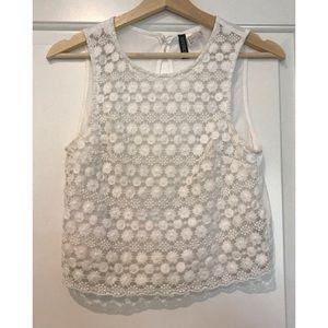 H&M white paisley knit crop top